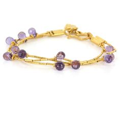 Estate 22 Karat Yellow Gold Amethyst Cocktail Charm Bracelet Fine Jewelry