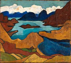 Mountain Lake, ca. 1935-1938, William H. Johnson, oil on burlap, 33 1/4 x 36 5/8 in. (84.3 x 93.0 cm.), Smithsonian American Art Museum, Gift of the Harmon Foundation, 1967.59.911