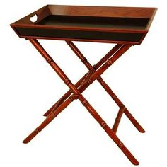 """Oriental Furniture Unique, Elegant Gift for Her, 27-Inch Bamboo Design Rosewood Tea Tray and Trestle Stand by ORIENTAL FURNITURE. $218.00. 24""""w by 16""""d by 27""""h, elegant tea tray and trestle set, fine kiln dried rosewood. Beautiful two tone cherry stain and black lacquer finish. Serve food and beverages in any room, distinctive, unique lamp table. Convenient, lightweight and portable folding trestle stand. A uniquely beautiful large tray and trestle stand, crafted from solid..."""