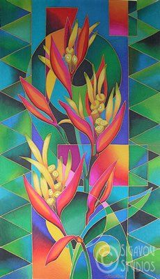 Island Flowers - Heliconia Poster by Maria Rova. All posters are professionally printed, packaged, and shipped within 3 - 4 business days. Choose from multiple sizes and hundreds of frame and mat options. Tropical Art, Tropical Flowers, Glass Painting Designs, Hawaiian Art, Silk Art, Fabric Painting, Watercolor Flowers, Painting Inspiration, Flower Art