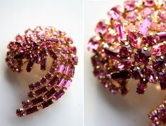 Vintage Shades of Pink Crystal Abstract Shape Brooch by ELOFSON