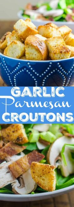 Every good salad needs some crunch. Homemade Garlic Parmesan Croutons are easy to make and add the tasty crunch you crave. Vegetarian Salad Recipes, Pasta Salad Recipes, Easy Healthy Recipes, Real Food Recipes, Easy Meals, Delicious Recipes, Bread Recipes, Healthy Appetizers, Simple Recipes