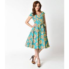 Retro Style Aqua & Yellow Roses Cap Sleeve Anna Swing Dress (€60) ❤ liked on Polyvore featuring dresses, pin up dresses, white retro dress, aqua dresses, white swing dress and yellow swing dress