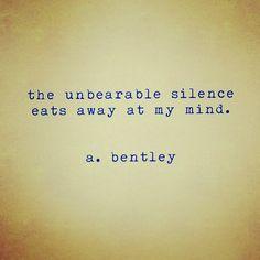 "#ShareIG ""Unbearable Silence."" #abentley #poem #poems #poets #poetry #depressed #depression #typewriter #writer #wordart #wordporn #words #instalike #instamood #instapoem #instadaily #mood #quotes #sayings #silence"