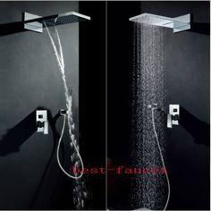 Luxury Waterfall and Rainfall Shower Faucet Mixer Tap Set W/ Handheld Shower #bestfaucet