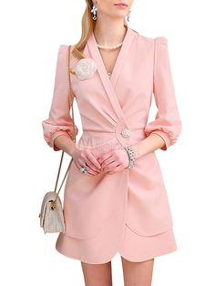 2014 New V-Neck Half Sleeves Long Coat With Buttons