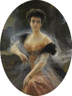 FROM A EUROPEAN ROYAL COLLECTION: PORTRAIT OF GRAND DUCHESS ELENA VLADIMIROVNA OF RUSSIA. François Flameng, Paris, 1905, oil on canvas. Provenance: Grand Duchess Elena Vladimirovna of Russia; Princess Olga of Greece and Denmark, her daughter; Thence by descent.