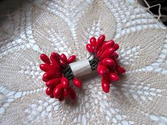 Red stamens millinery Holly berries 60 pieces red floral craft supplies hat making vintage style floral Christmas crafting floral supplies