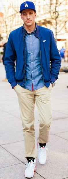 look: blue baseball cap + blue sport jacket +light blue shirt + khaki chinos + white sneakers | Great!