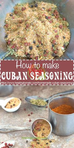 Homemade Cuban seasoning is really easy to make and doesnt take more than 5 minutes to make! Sazon homemade spices homemade blends making your own seasoning what is sazon www. Homemade Dry Mixes, Homemade Spice Blends, Homemade Spices, Homemade Seasonings, Spice Mixes, Rub Recipes, Cooking Recipes, Healthy Recipes, Chicken Recipes