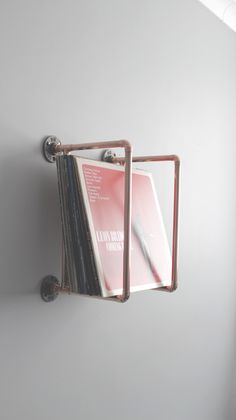 Vinyl collection holder – Handmade from copper pipe – Wall Mounted – apartment.club Vinyl collection holder – Handmade from copper pipe – Wall Mounted Vinyl Record Storage, Wall Storage, Storage Ideas, Vinyl Record Holder, Vinyl Record Display, Vinyl Shelf, Record Shelf, Record Wall, Craft Storage