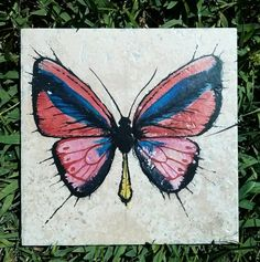 Butterfly original art on 6 1/2 x 6 1/2 by ScribbleSketches, $18.00