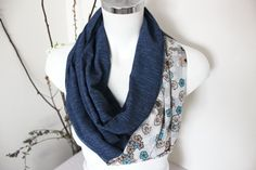 Blue Infinity Scarf Colored Infinity Scarf by Nazcolleccolors