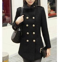Women's Black Wool Double Breasted Coat