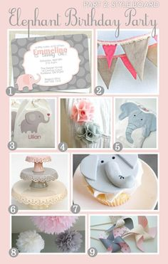 Girl Birthday Party Ideas | Pink and Gray Elephant Birthday. Could also be a cute baby shower theme