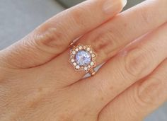 Upgraded Halo Tanzanite Diamond Ring Gemstone Engagement Ring