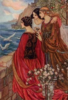 Florence Susan Harrison (English Art Nouveau and Pre-Raphaelite illustrator) 1877 - 1955 The Sailing of the Sword, 1914 watercolour Illustration for a poem from William Morris s. From The Early Poems of William Morris published 1914 Art And Illustration, Watercolour Illustration, Fantasy Kunst, Fantasy Art, Illustrator, Fairytale Art, Pre Raphaelite, William Morris, Thalia