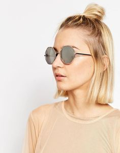 Asos Hexagon Detail Round Fine Metal Sunglasses