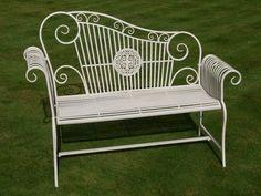Wrought Iron Scroll Bench – Cream, Garden Store