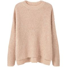 MANGO Ribbed Detail Sweater (1.740 CZK) ❤ liked on Polyvore featuring tops, sweaters, jumpers, pink sweater, long sleeve jumper, pink long sleeve top, mango tops and side slit sweater