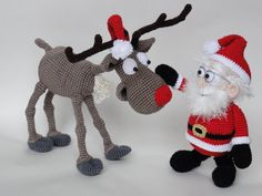 Santa Claus and Rudolf the Reindeer Amigurumi Crochet Pattern Set
