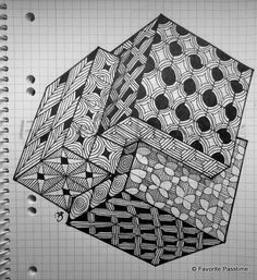 how to draw zentangle cube Tangle Doodle, Tangle Art, Zen Doodle, Doodle Art, Zentangle Drawings, Doodles Zentangles, Art Drawings, Graph Paper Drawings, Graph Paper Art