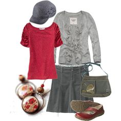 """Red 'n Gray"" by becken on Polyvore"