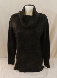 DKNY JEANS Womens Tunic Cowl Neck Pullover Sweater, Black Heather Color NWT XXL #DKNY #CowlNeck