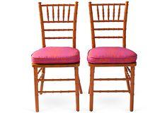 Orange Bamboo-Style Chairs, Pair on OneKingsLane.com