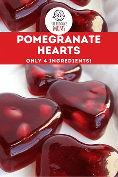 """These adorable pomegranate hearts are perfect for Valentine's Day, anniversaries, birthdays, or anytime you want to say """"I love you!"""" Pomegranate Recipes, Fruit Recipes, Dessert Recipes, Great Desserts, No Bake Desserts, After School Snacks, Food Themes, Gelatin, Paper Decorations"""