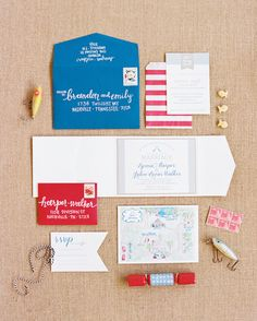 red, white, and blue invitation suite | Nancy Ray #wedding