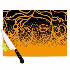 Kess InHouse Just L 'Versus Spray Blk Gld' Abstract Illustration Tempered Cutting Board