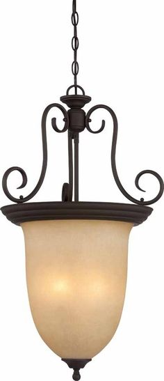 """View the Volume Lighting V2384 Troy 4 Light Bowl Shaped 32.25"""" Height Pendant with Sandstone Glass Shade at LightingDirect.com."""