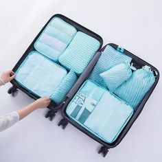 8 pcs/set Packing Cubes System my FL Travel Luggage Packing Organizers bags Waterproof Mesh Suitcase and Backpacking Accessories Suitcase Packing, Travel Packing, Travel Luggage, Travel Bags, Packing Cubes, Bag In Bag, Travel Organization, Aliexpress, Bag Storage