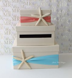 Wedding Card Box Beach Theme, Starfish Wedding Card Holder, Money Box
