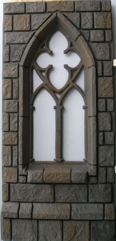 Most windows would look like this. The brick outline Halloween Vampire, Halloween 2018, Halloween Crafts, Halloween Decorations, Halloween Party, Halloween Animatronics, Haunted House Props, Harry Potter Halloween, Faux Stone