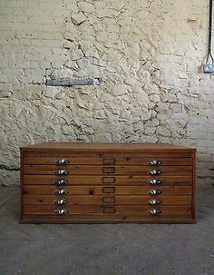 6 Drawer Wooden Planchest, Architects Drawers