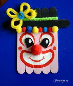 Bohóc, clown, iskola, school, spatula Techno, Paper Crafts, Clowns, Diy, Handmade, Early Education, Ice Cream Sticks, Manualidades, Bricolage