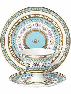 Fine bone china turquoise tea set
