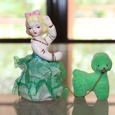 Vintage Ceramic Girl Walking Green Flocked Styrofoam by Mercymay, $8.50