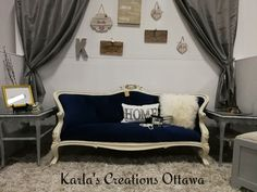 Hand painted with ASCP Old Ochre, distresed and white waxed, new reupholstered with beautiful blue velvet fabric. Settee Sofa, Couch, Blue Velvet Fabric, French Sofa, Ottawa, Hand Painted, Furniture, Beautiful, Home Decor