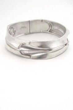 Bjorn Weckstrom Lapponia Finland vintage Scandinavian Modern heavy textured silver bracelet