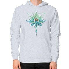 Oriental Geometric Lotus Triangle Hoodie (on man)