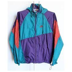 Vintage nike windbreaker ❤ liked on Polyvore featuring activewear, activewear jackets, nike sportswear, nike activewear, nike and vintage sportswear