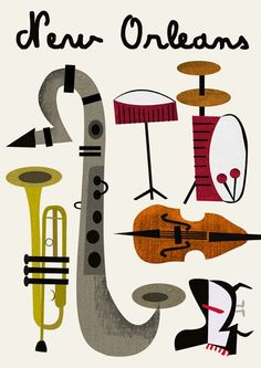 New Orleans ~ Jazz Music Musical Instruments Drawing, Jazz Instruments, Jazz Art, Jazz Music, Reggae Music, Pop Music, Music Drawings, Music Artwork, Musikfestival Poster