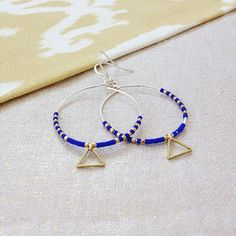 """Blue and gold hoops for summer  #summer #summerstyle #hoops #earrings #hoopearrings #bohoearrings…"""""""