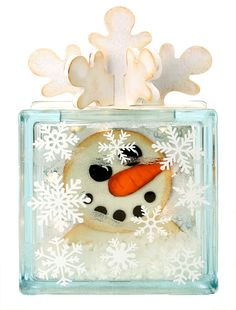 Nicole™ Crafts Snowman Glass Block #christmas #glassblock