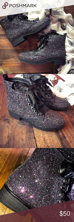 NWOT Dirty Laundry Sparkle Boots Brand New & Never Worn! These boots are super chic--I love this galaxy sparkle glitter, you will definitely stand out! Lace ties No  Dirty Laundry Shoes Ankle Boots & Booties