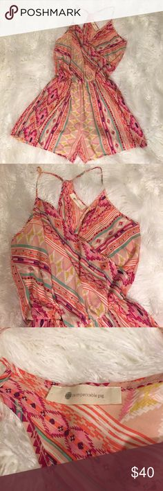 The Impeccable Pig printed romper sz Medium The Impeccable Pig printed romper sz Medium. Perfect condition and so cute!!! The shorts are lined. The Impeccable Pig Pants Jumpsuits & Rompers