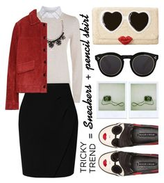 """Tricky Trend: Pencil Skirts and Sneakers"" by karineminzonwilson ❤ liked on Polyvore featuring See by Chloé, L.K.Bennett, Kate Spade, Alice + Olivia, Valentino, Illesteva, Polaroid, Zara, TrickyTrend and pencilskirts"